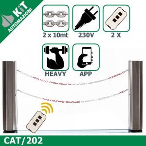 CAT/202 Barriera con doppia catena (fino a 10mt) con 2 radiocomandi compresi