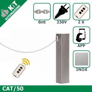 CAT/50 Barriera a catena (fino a 6mt di apertura) con 2 radiocomandi compresi