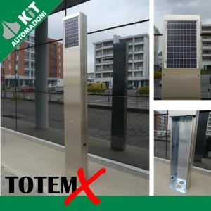 TOTEM in acciaio INOX satinato, altezza 2 mt con predisposizione per pannelli solari, batterie, fotocellule